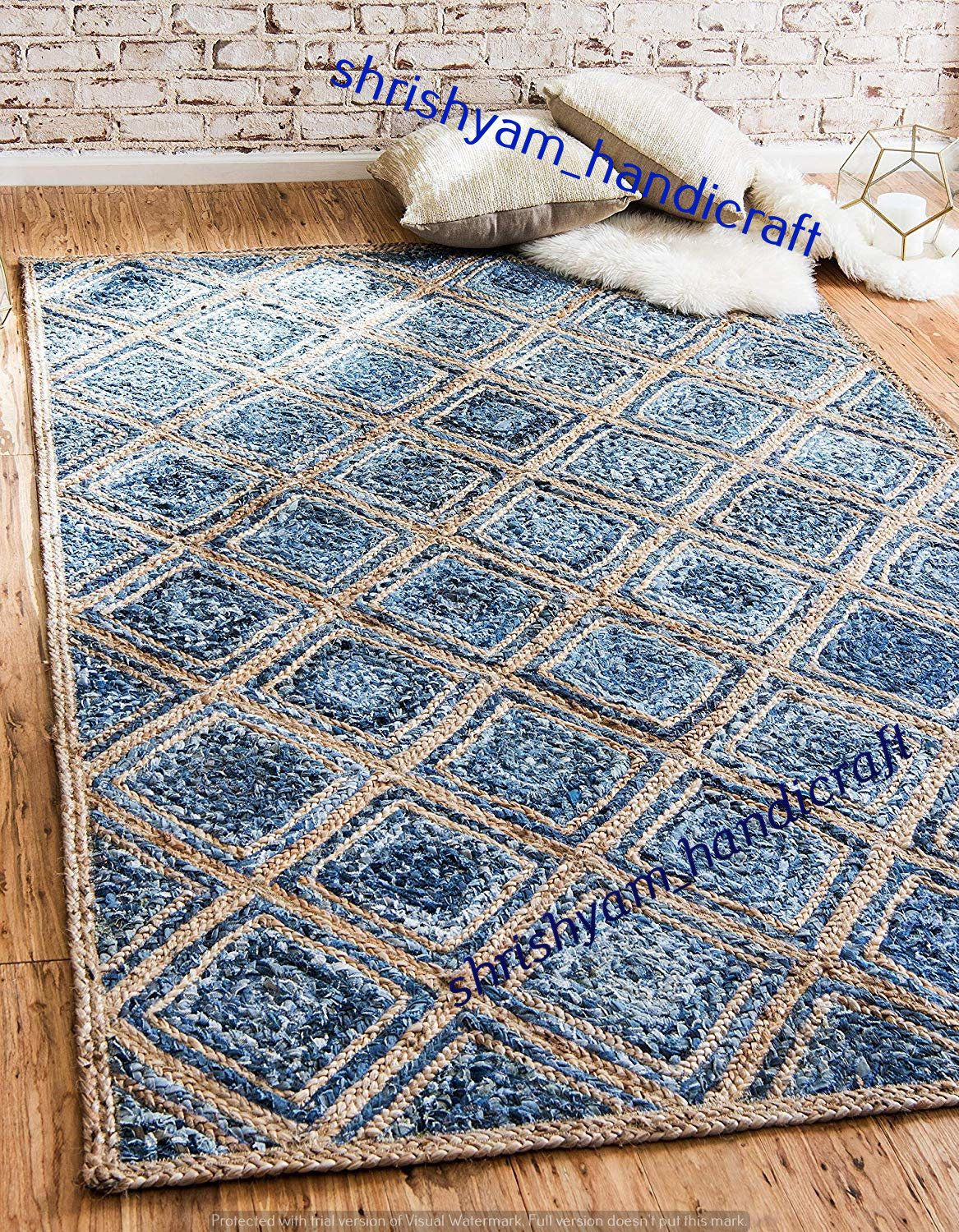 Indian Braided Jute Rug Rag Blue Color Floor Decor Rugs Hand Woven