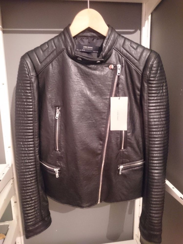 4a07307a ZARA Black PU Leather Effect Quilted Ribbed Shoulder ZIP Biker Jacket  3046/236