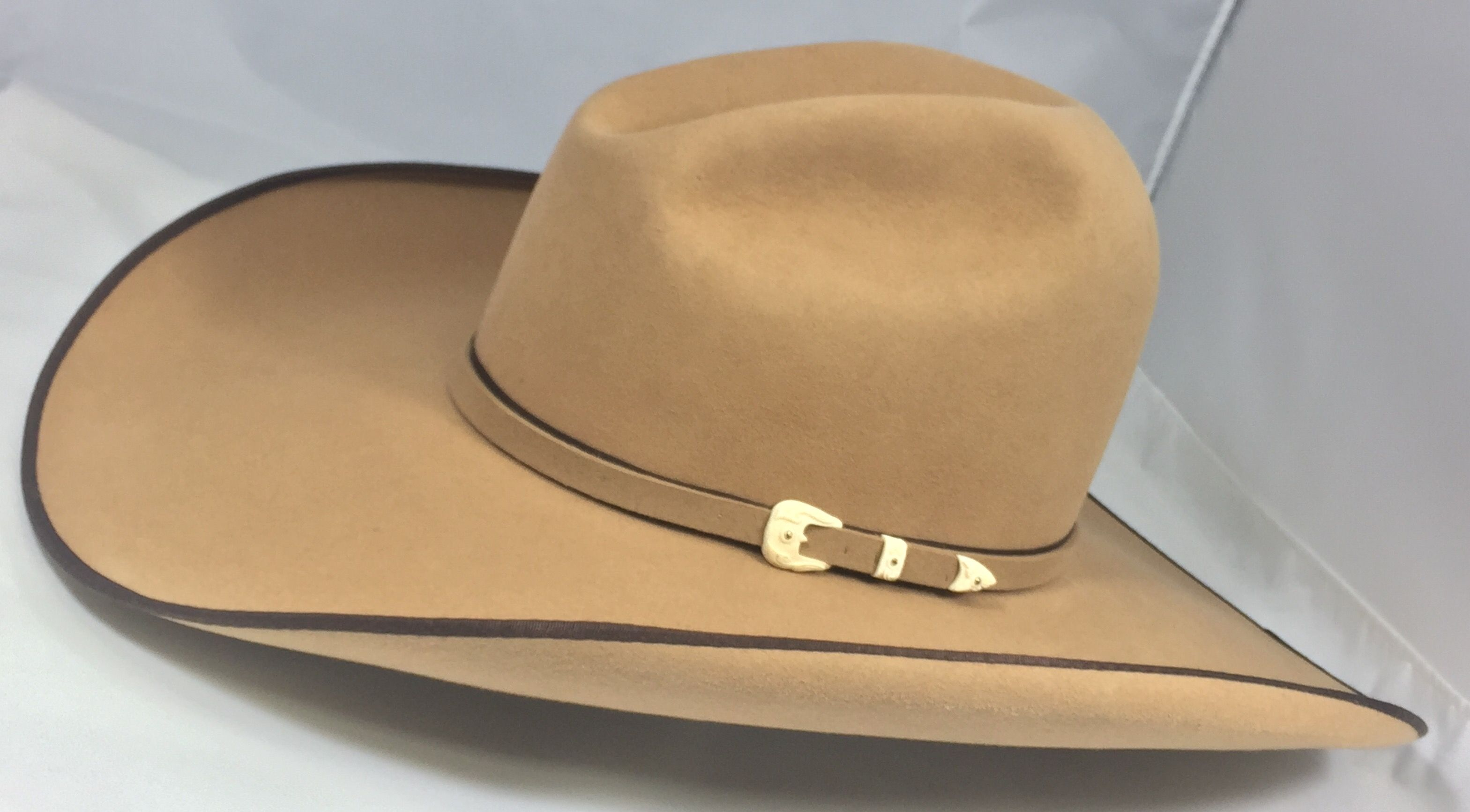 74cdbd271338e Custom French Tan Competitor 5inch brim pencil roll chocolate Bound edge  and hat band with french tan self band. This Hat also has a 1000 year old  mammoth ...