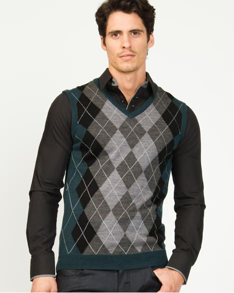 Wool Blend Argyle Semi-fitted Sweater Vest | Shyah | Pinterest ...