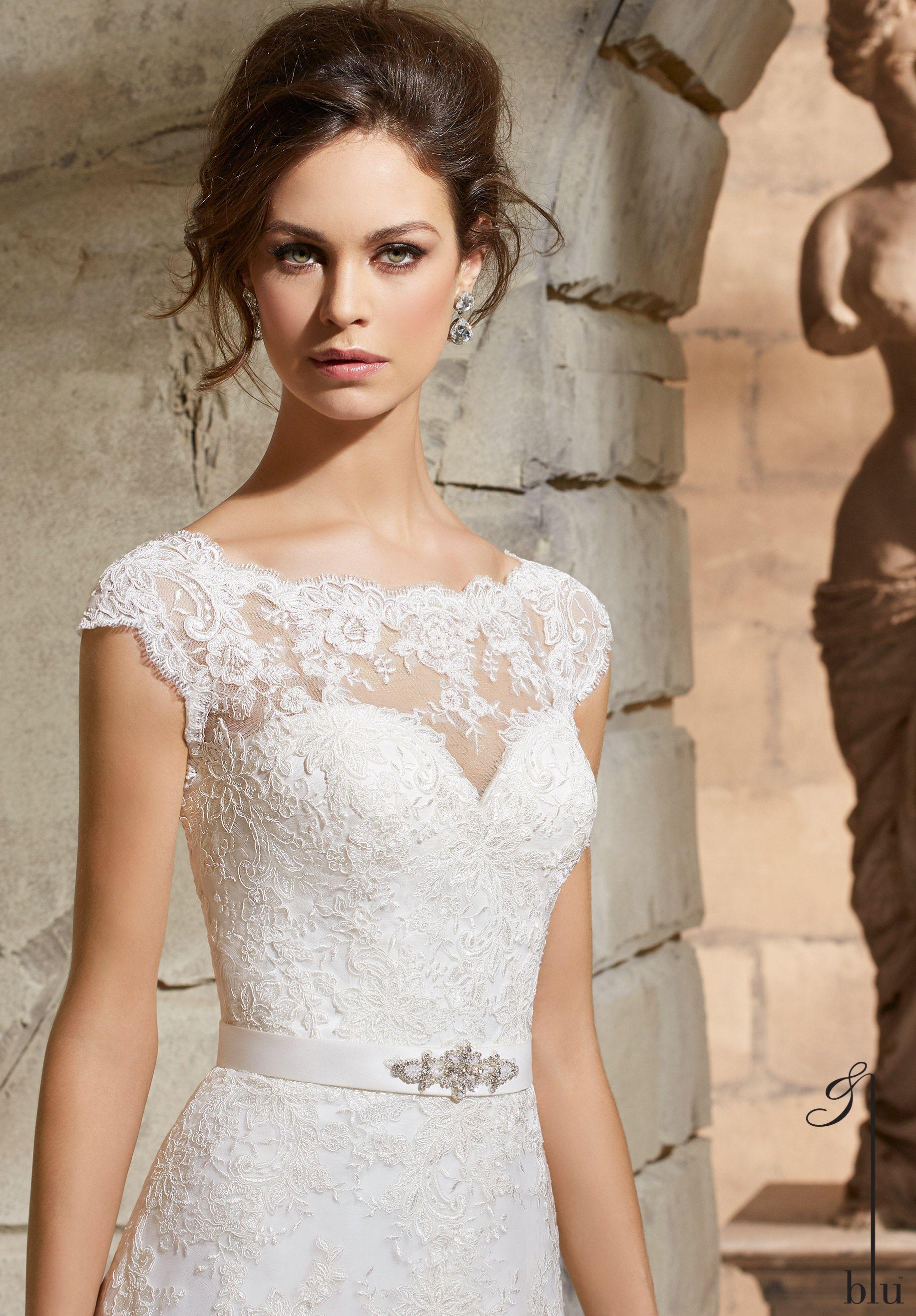 5370 Brautkleid von Mori Lee Kollektion 2016 aus Spitze in A-Linie ...
