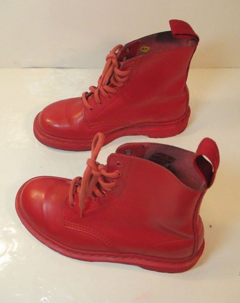 size 40 2b111 ebf54 The Original Dr. Martens 8 Eye Boots Red w/ Red Soles AW501 ...