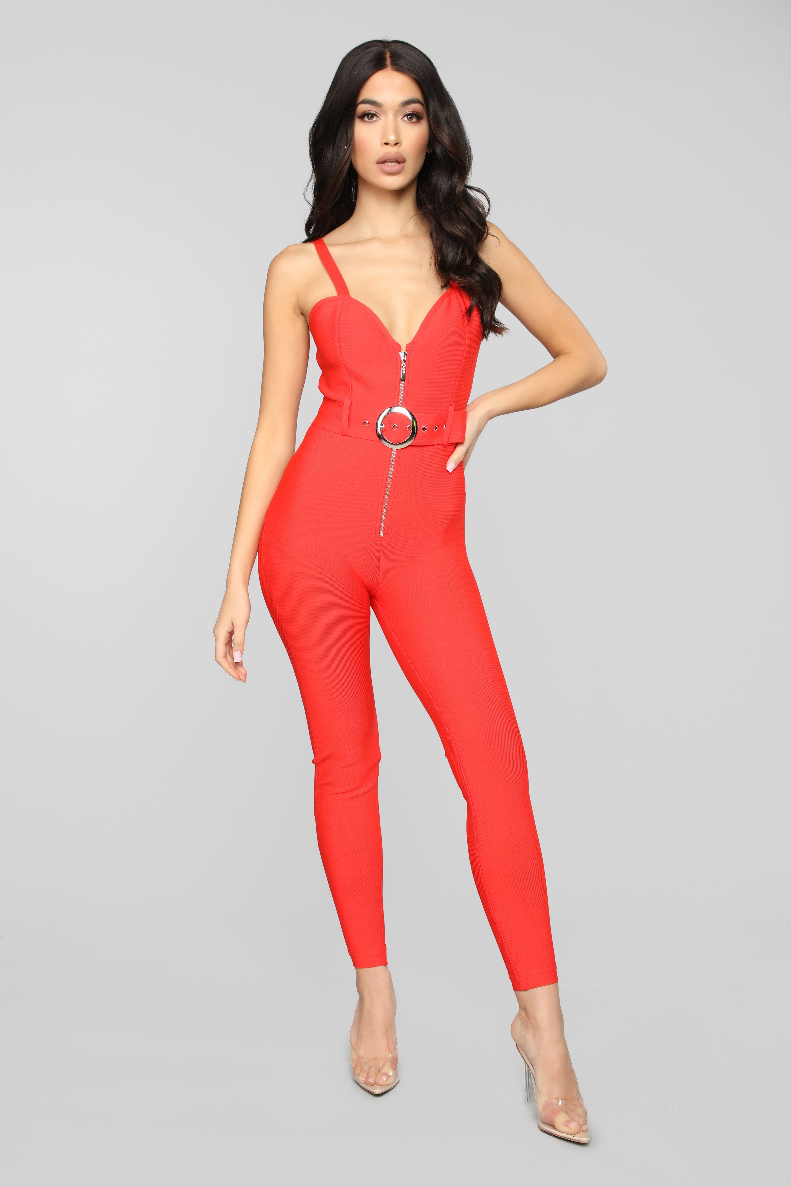 Get Into The Groove Bandage Jumpsuit Red Bandage