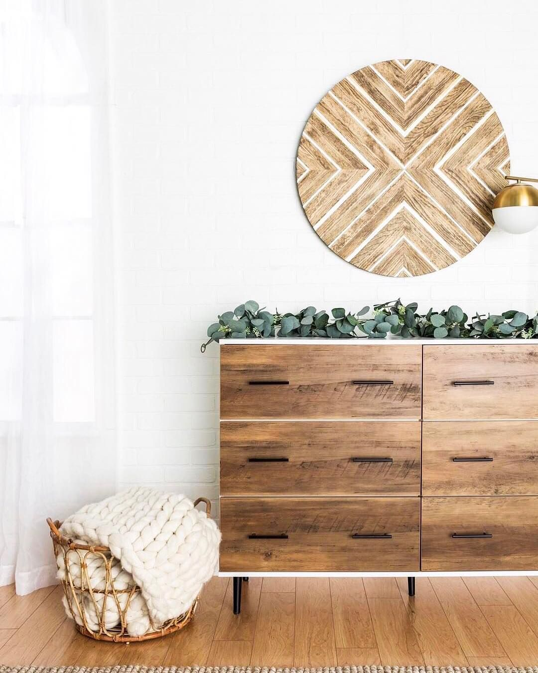 Beautiful Custom Wood Wall Art Is Perfection Above This Midcentury Modern Minimal Dresser Absolutely Loving The Simp Fresh Bedroom Basket Wall Decor Furniture