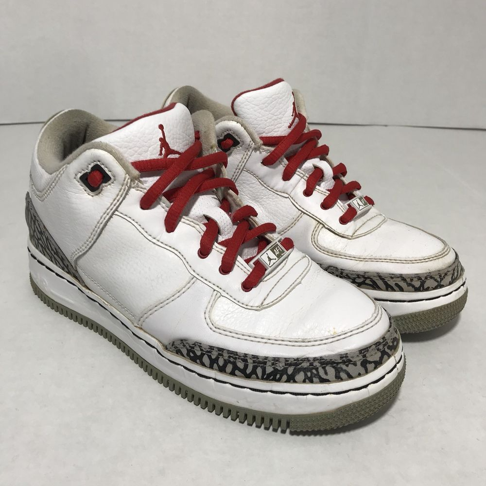 best service 0b18d c2213 Nike Air Force 1 Jordan Fusion AJF 3 Youth Size 4.5 White Gray Cement AF1  2008
