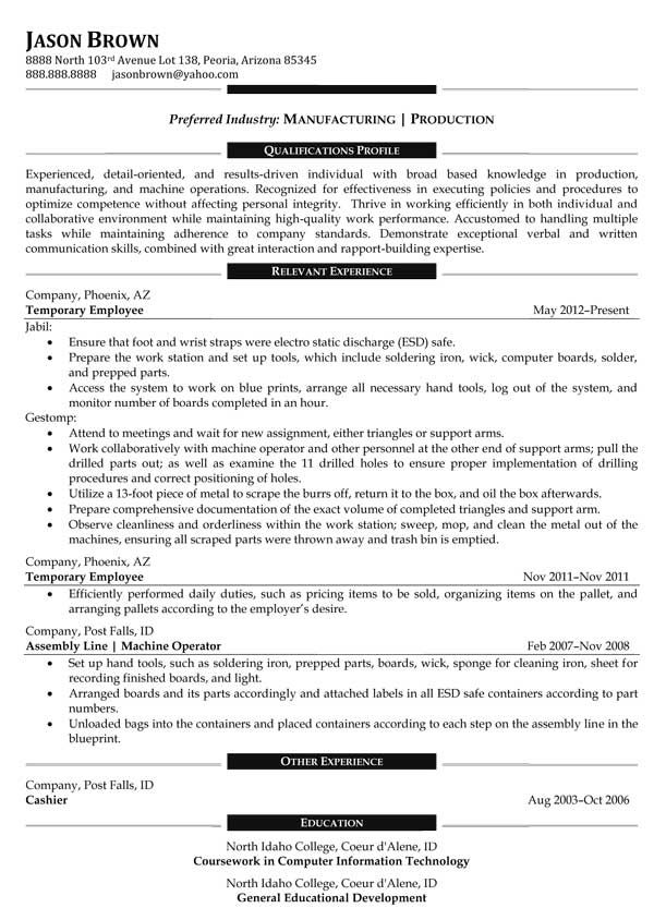 sample resume manufacturing best photos production manager - resume for manufacturing
