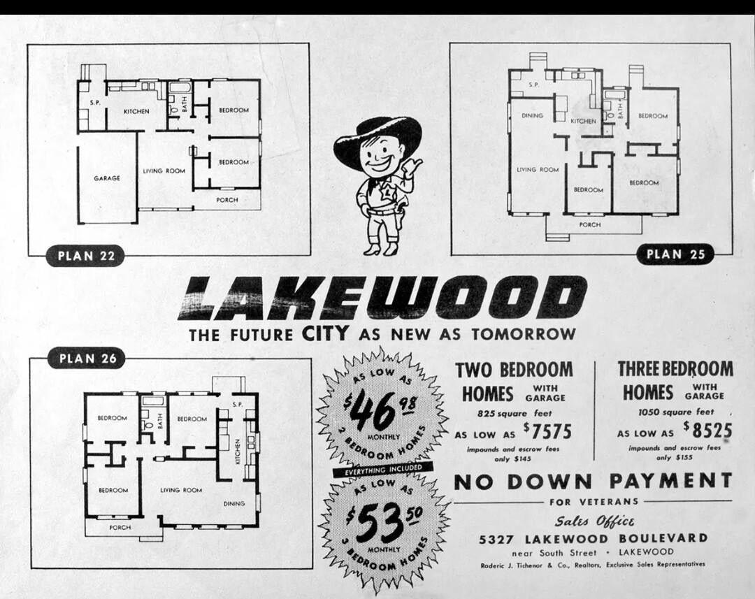 Rows of houses in Lakewood, Ca., development begun 1949 | History ...