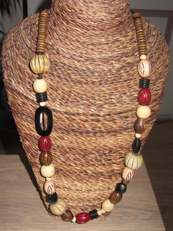 ethnique noir beige rouge - sautoir et collier matinée - les - tour a bois fait maison