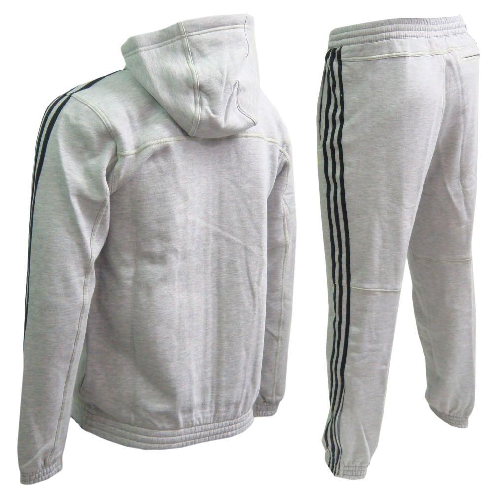 Stripe Jogger Medium Track Adidas Black 3 Hooded Mens Suit Grey UzMSVpqG