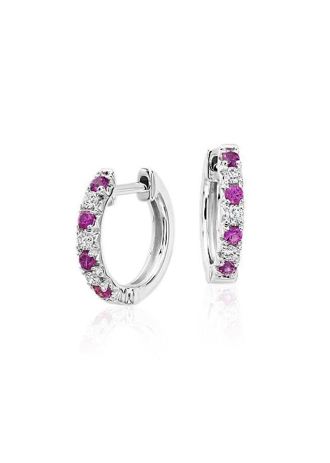Petite Pink Sapphire and Diamond Pavé Huggie Hoop Earrings in 14k