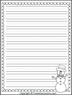 free snowman winter writing template with print practice lines teacher january pinterest. Black Bedroom Furniture Sets. Home Design Ideas