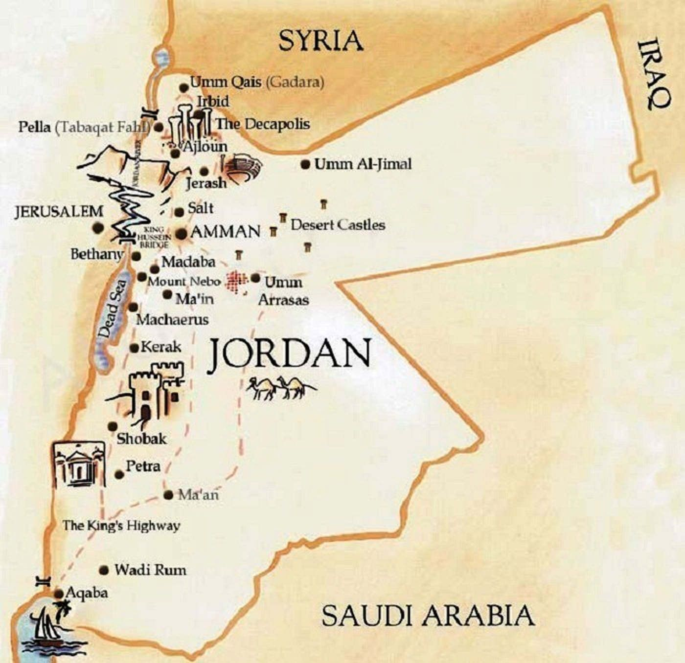 Cartina Giordania E Israele.Itinerario Di Viaggio In Giordania Mappa Jordan Giordania Jerash Viaggio