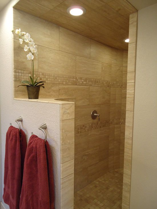 Interesting Modern Bathroom With Endearing 12x24 Tile Wall With Light Goldenrod Color Also Unique Wall Mount Hoo Shower Ceiling Tile Travertine Bathroom Travertine Shower