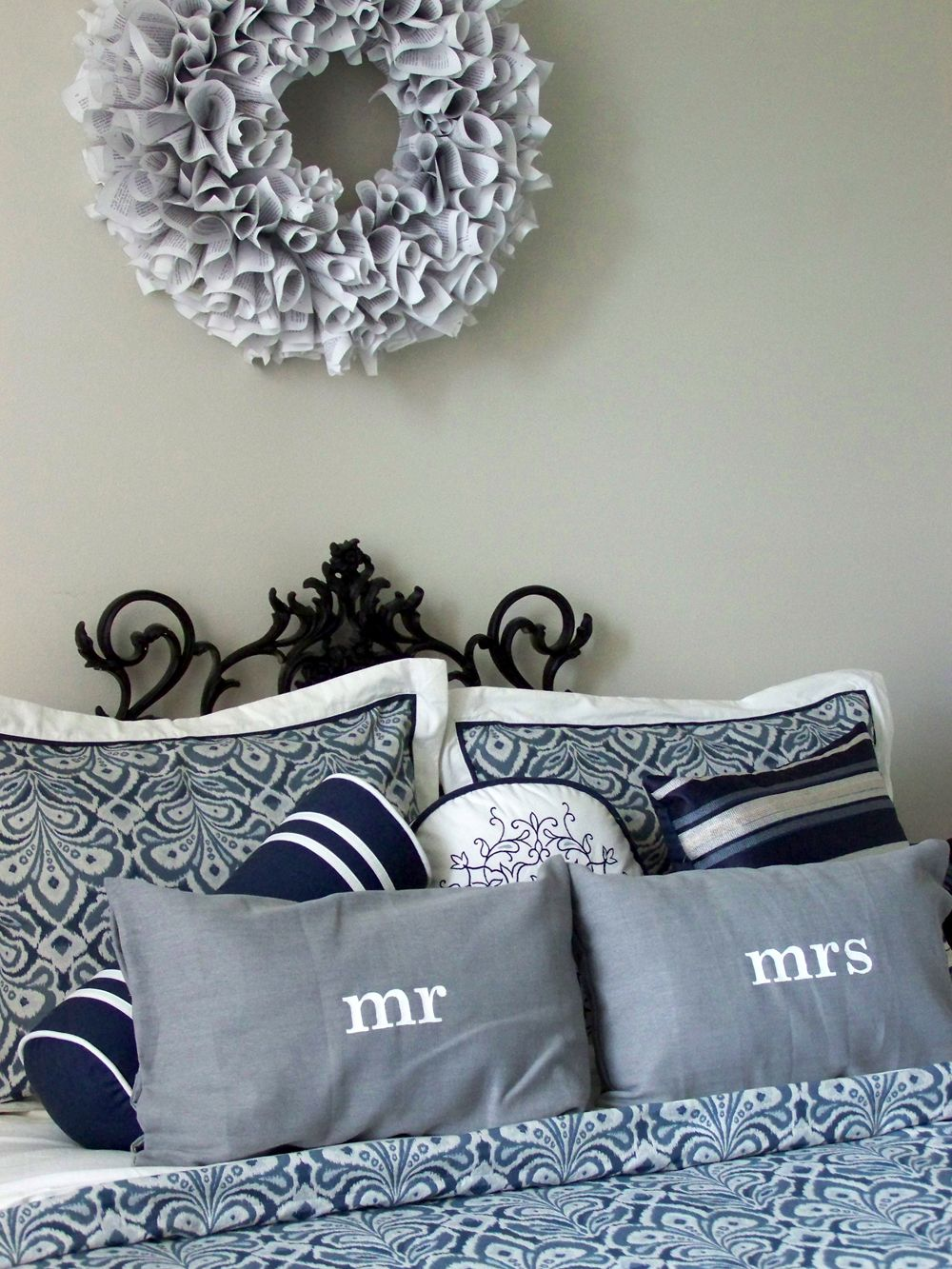 Stenciled Mr and Mrs pillows