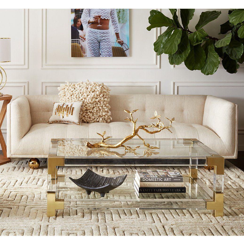 Jonathan Adler Claridge Sofa Modern Glass Coffee Table Glam Living Room Luxury Living Room [ 1037 x 1037 Pixel ]