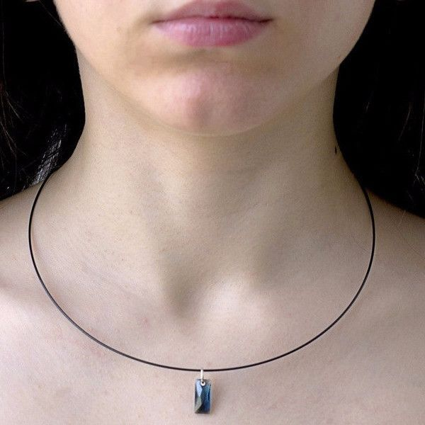 Minimalist Black Cable Necklace with Swarovski Crystal Pendant