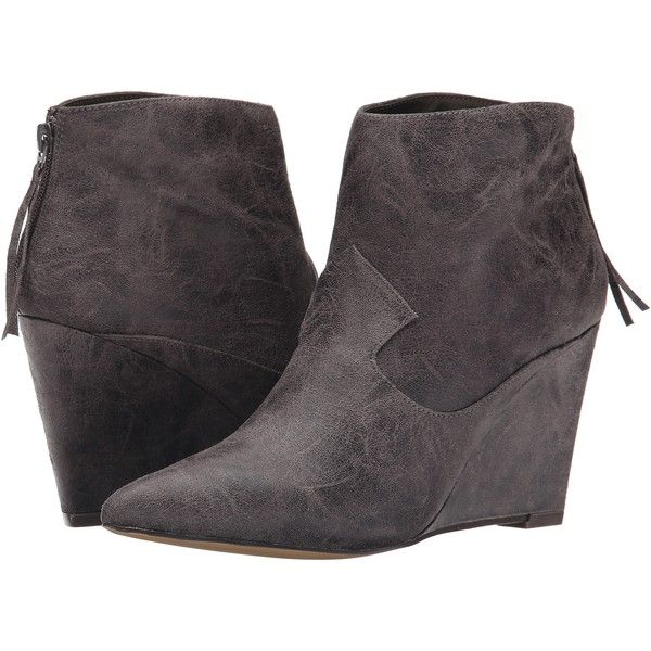 Michael Antonio Citron Women's Boots, Gray ($40) ❤ liked on Polyvore featuring shoes, boots, ankle boots, grey, michael antonio boots, short boots, pointy boots, short grey boots and gray boots