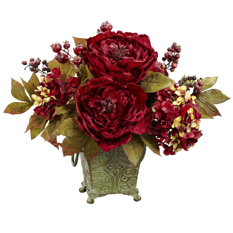 Peony Hydrangea Silk Flower Arrangement Decorating Credenza