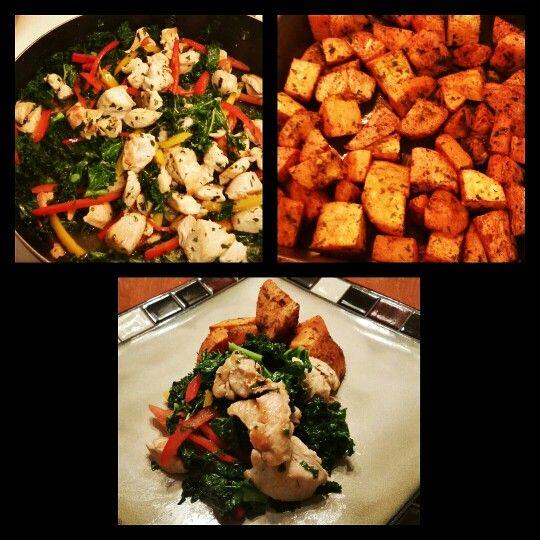 Kale concoction with sweet potatoes! Enjoy #Three_D11 #Kale