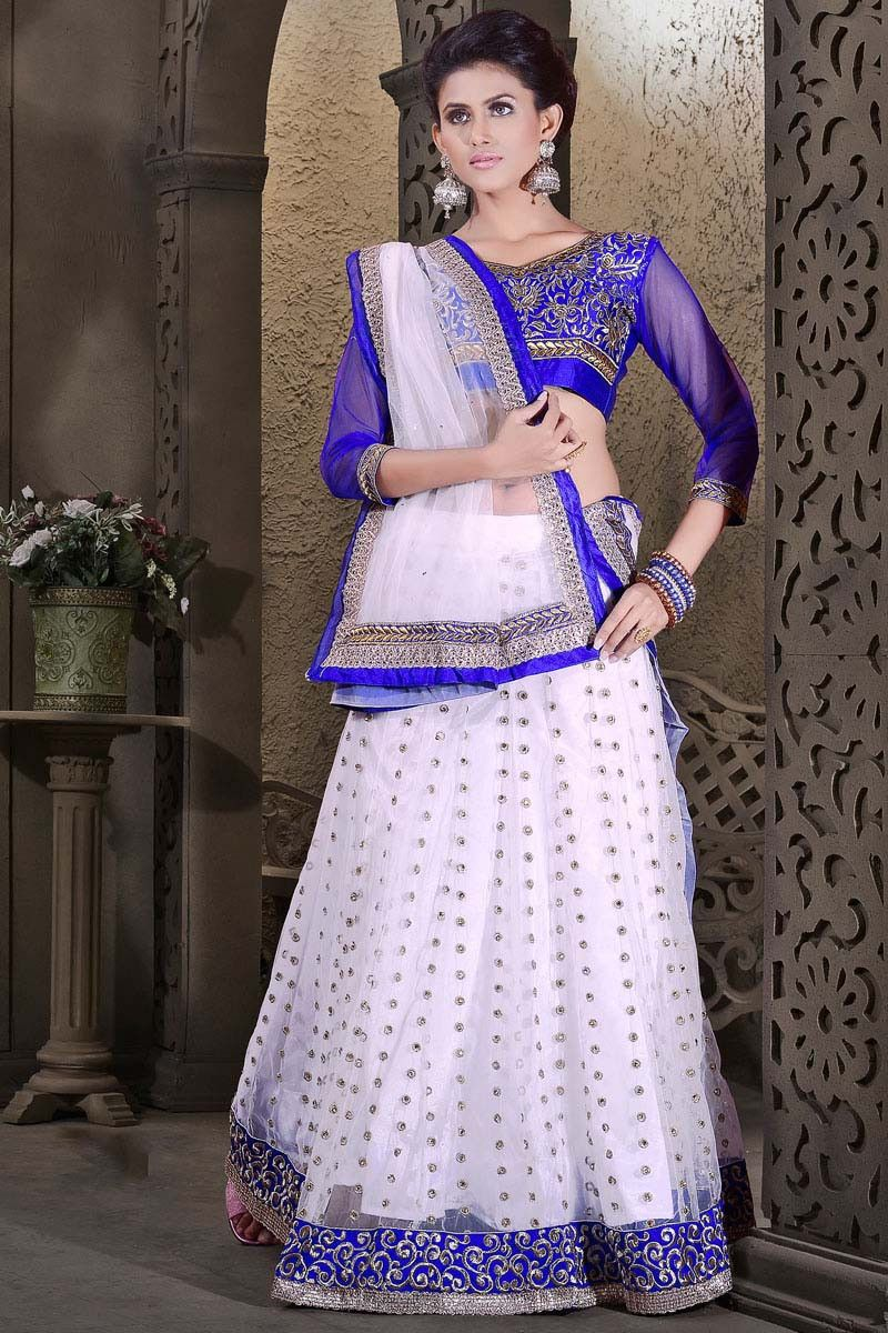 Buy off white net designer lehenga online in low price at variation