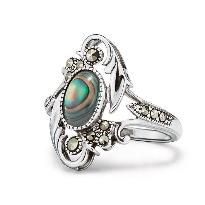 Hermoso anillo de plata genuina con marcasita y abulón genuino. Tamaños: 5-10