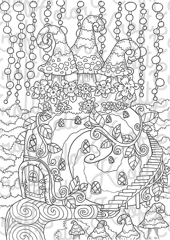 Gnome Home Coloring Page // Printable Coloring Page