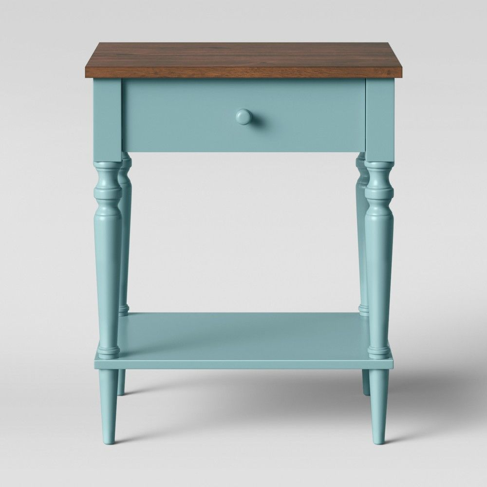 Isabella One Drawer Nightstand Blue Bedside Tables Nightstands Nightstand Furniture