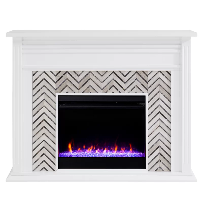 Hebbington Tiled Marble Electric Fireplace Electric Fireplace