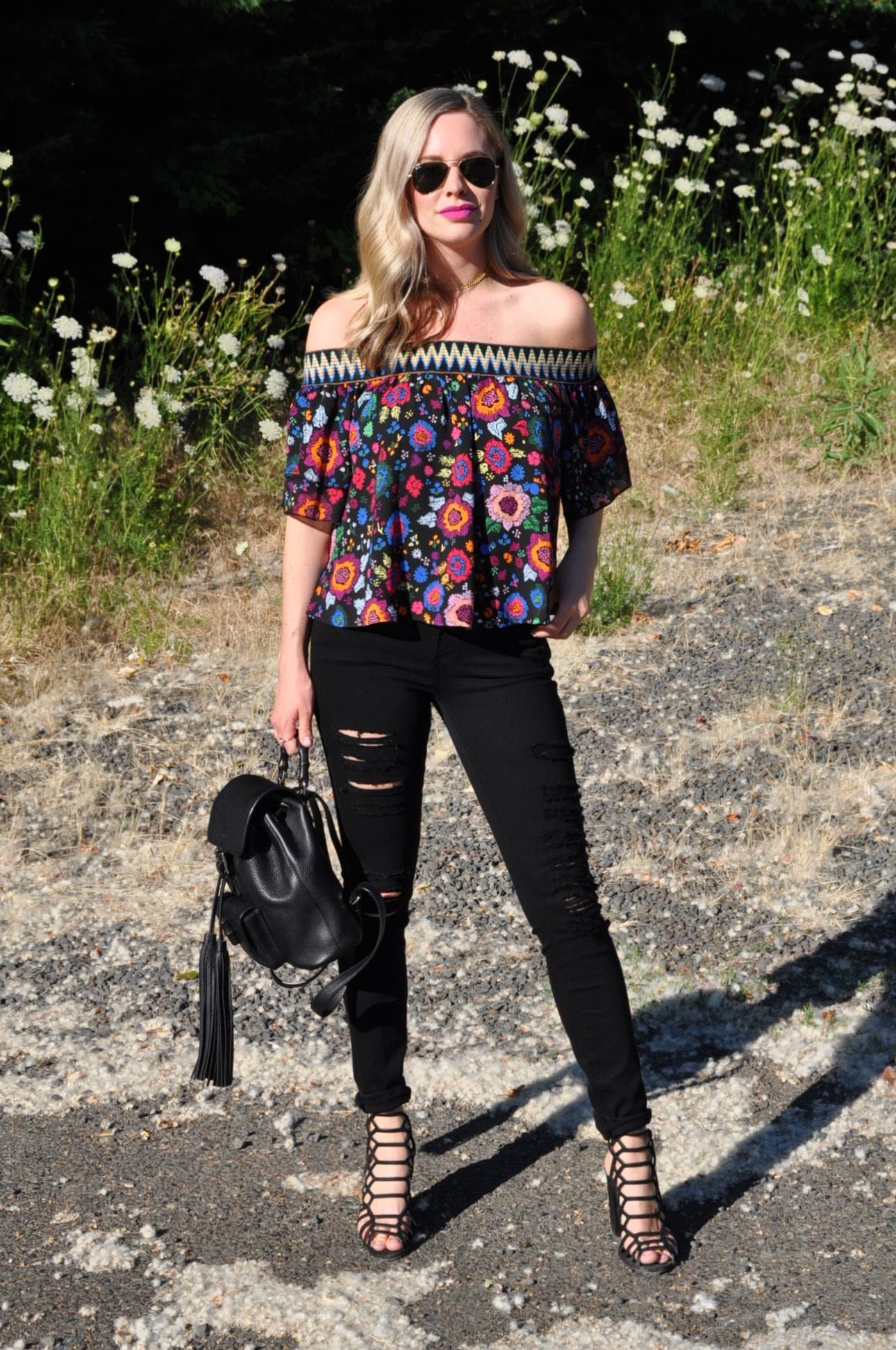 c8884012f373f Distressed jeans with cage sandals and an off the shoulder top. (Via blog  Confessions of a Product Junkie.)