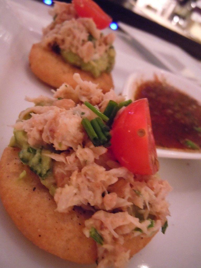 Crab Avocado Sopes I had at Finch's Wine Bar & Bistro, La Jolla, CA