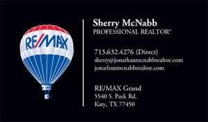 Realtor sherry mcnabb remax business card west houston real katy texas real estate is our business share our pins and spread the love we are your one source real estate solution for the greater west houston area colourmoves