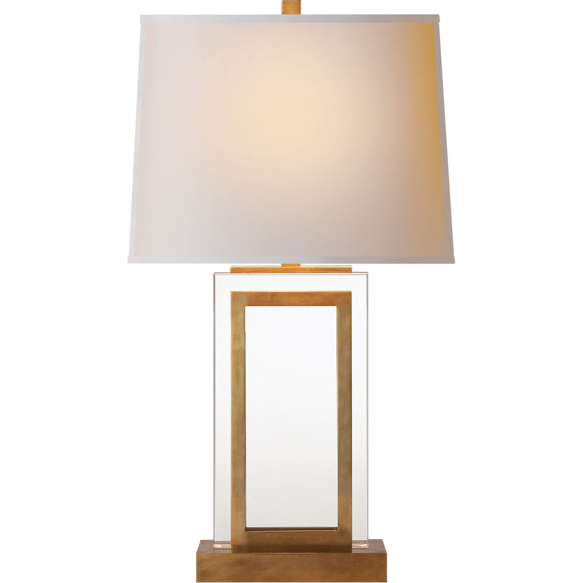 E F Chapman Crystal Panel 30 Inch 150 00 Watt Antique Burnished Brass Decorative Table Lamp Portable Light Ambiente