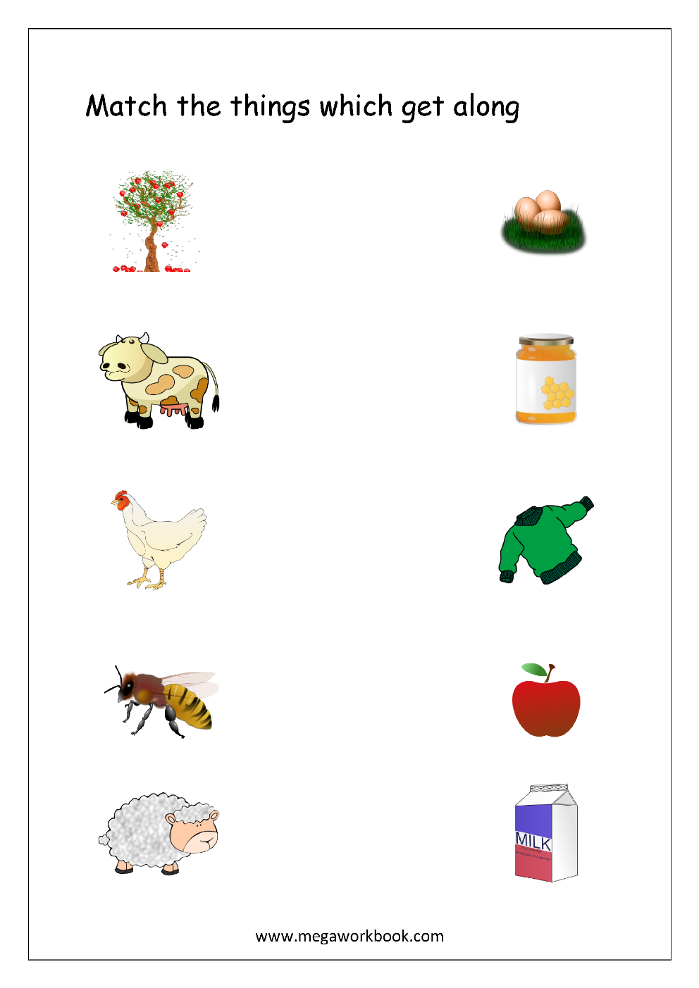 Things That Go Together Worksheets Free printable