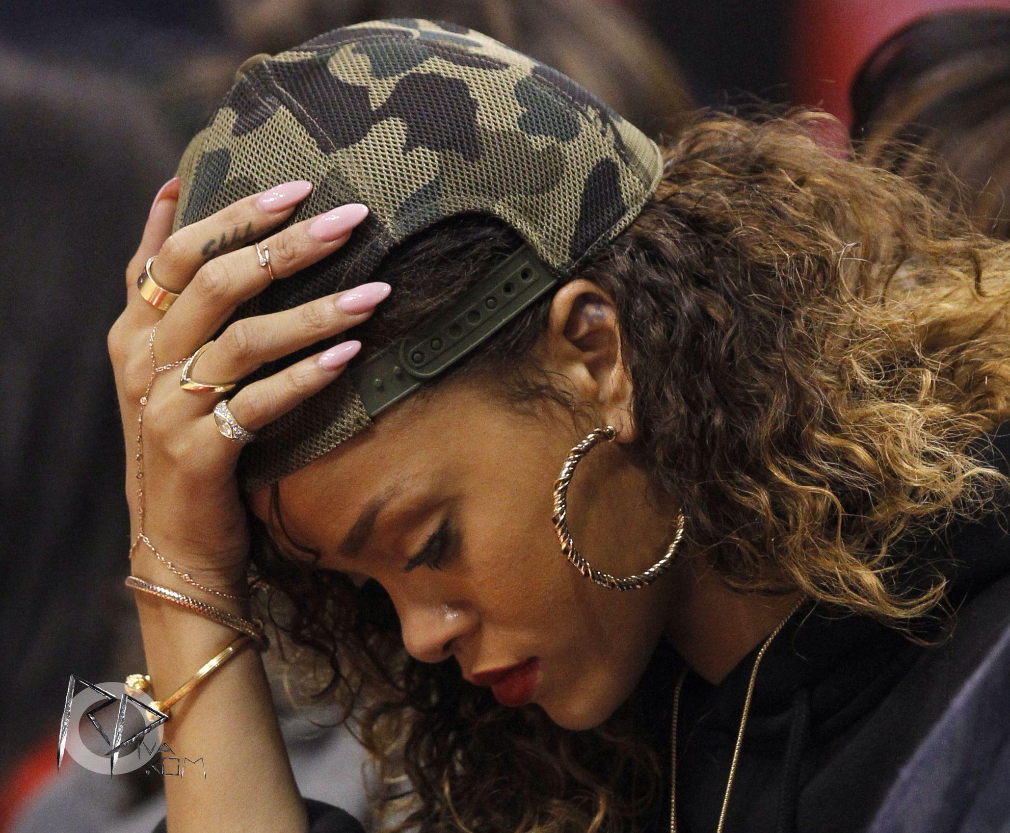 Rihanna Light Pink Rounded Acrylic Nails Beauty
