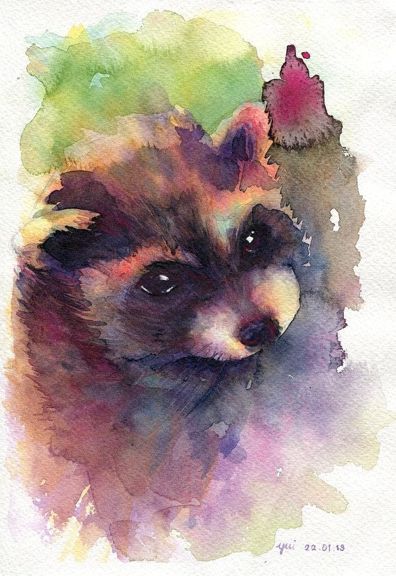 Yong raccoon ORIGINAL watercolor painting by WaysideBoutique, $18.00