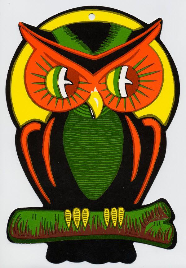creepy owl vintage beistle halloween decoration
