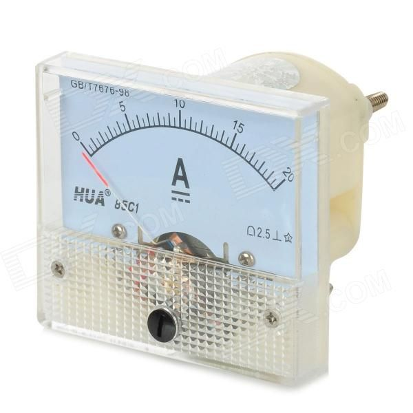 20495 20A Plastic + Copper DC Ammeter - Beige