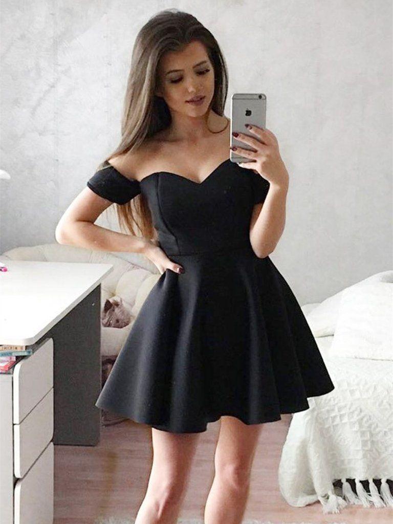 A line sweetheart neck off shoulder short black prom dresses short