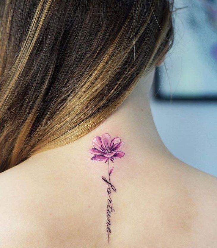 Frase Fortune Y Flor Mini Tatuajes Tatuajes De Flores Y