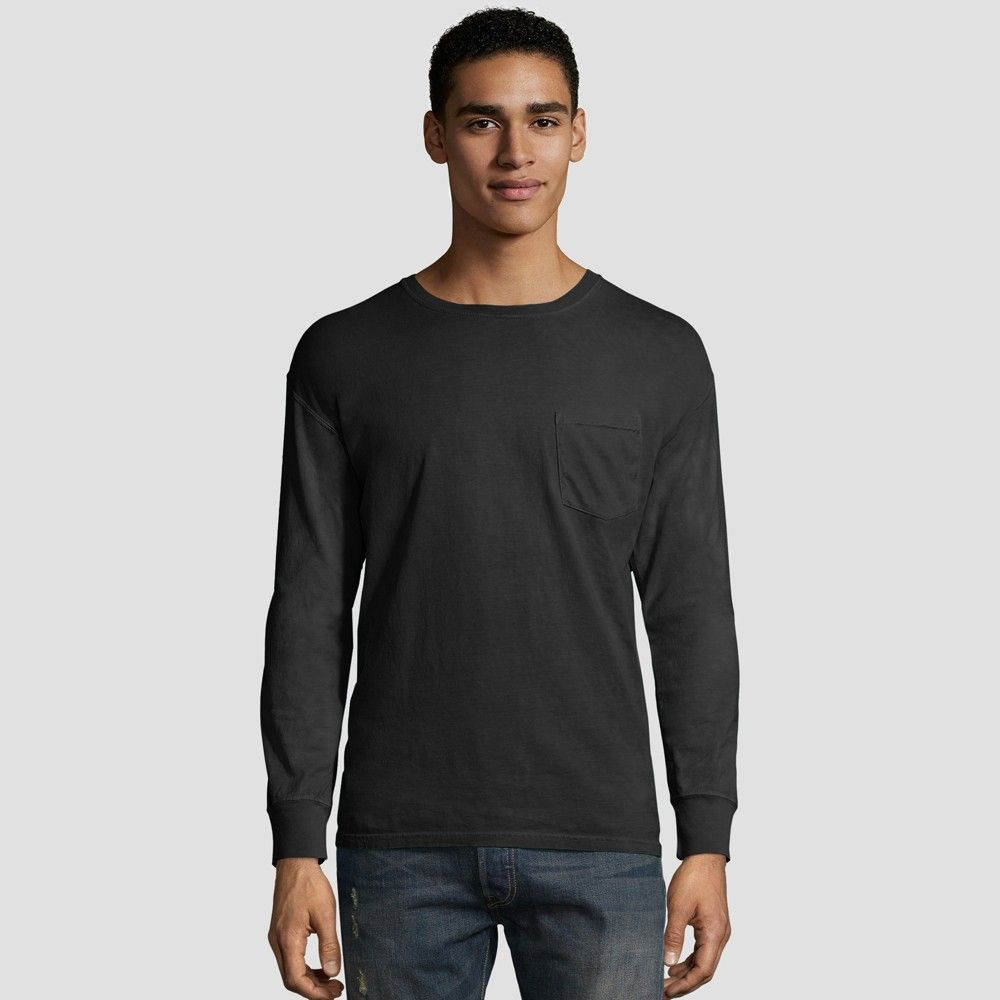 df460abf6 The 1901 collection is a nod to the longstanding comfort and quality that  Hanes is known for. This crew neck long sleeve pocket tee ...