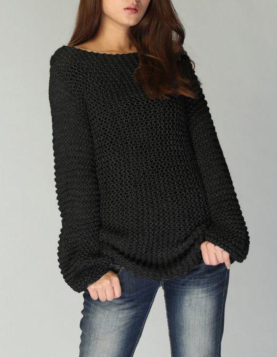 Hand Knit Woman Sweater Eco Cotton Long Sweater In Black örgü