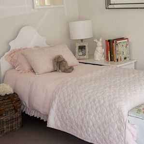 Timeless and beautiful for every age.  This bedlinen is made from a gorgeous natural fabric in Hickory Hill's signatory soft pink. The doona and pillowcase have a raw edge ruffle cleverly cut on the bias that is feminine and romantic.