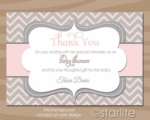Chevron - Pink Gray Grey - Baby Shower Thank You Card - Baby Girl ...