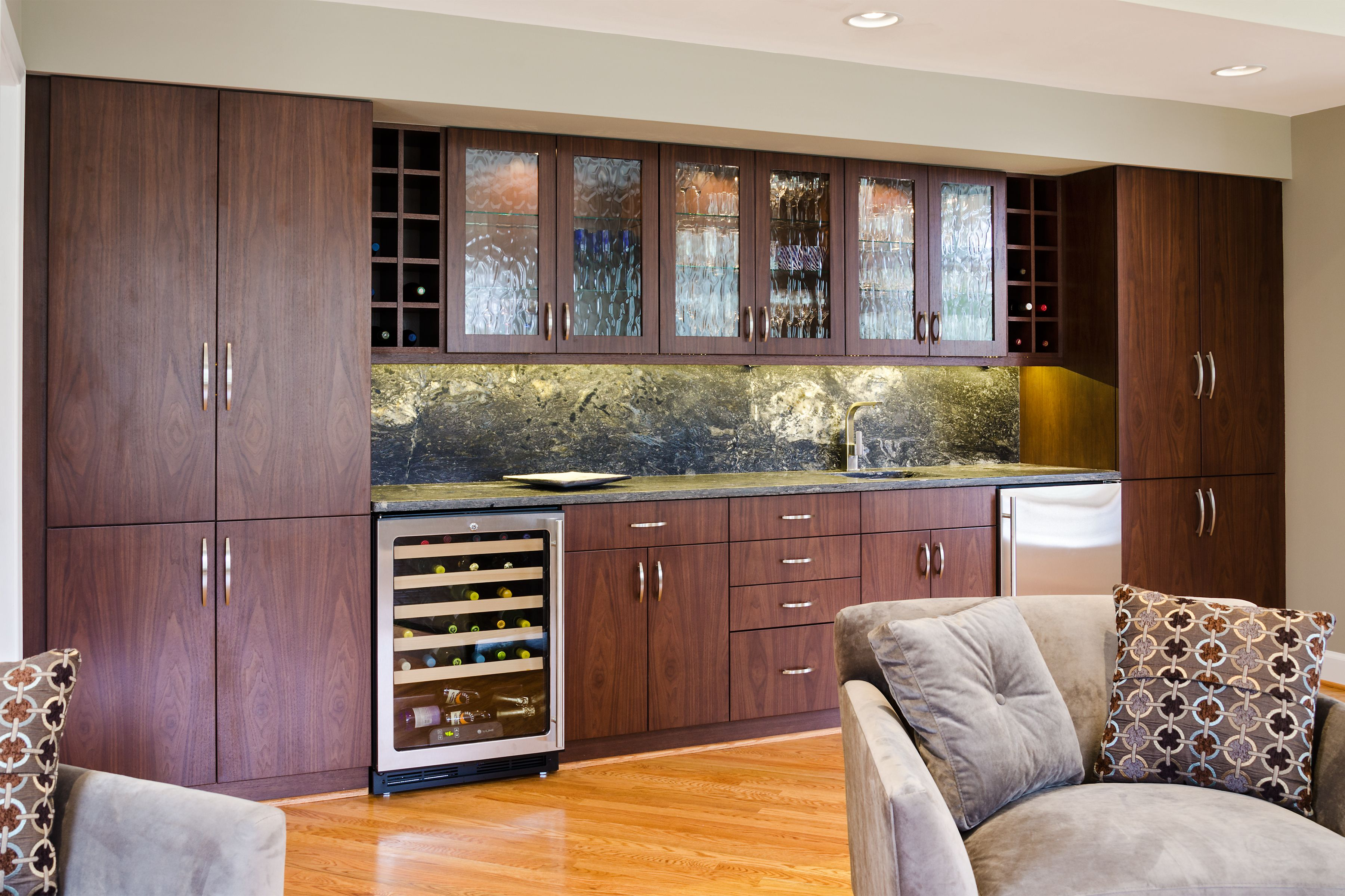 Bar Area Complete With Wine Cooler, Small Frig And Plenty Of Storage. All TV  Components For Adjoining Family Room Are Hidden Within One Cabinet.