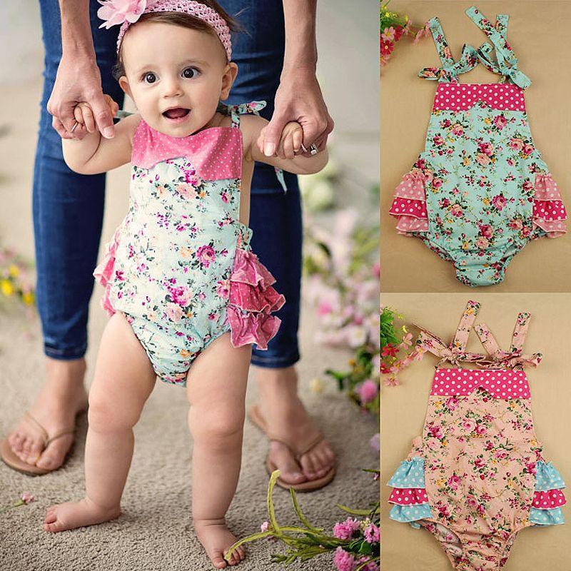 9cc1be831 Ruffles baby romper Summer infant Girl s princes floral Romper fancy ...