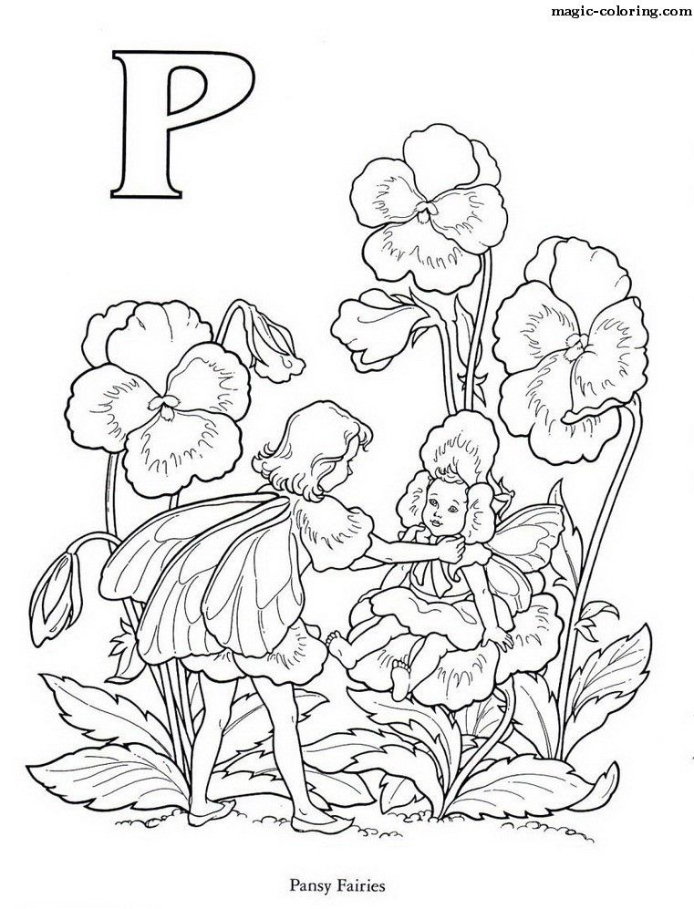Pansy Fairies - Flower Coloring Page for letter | Fairy ...