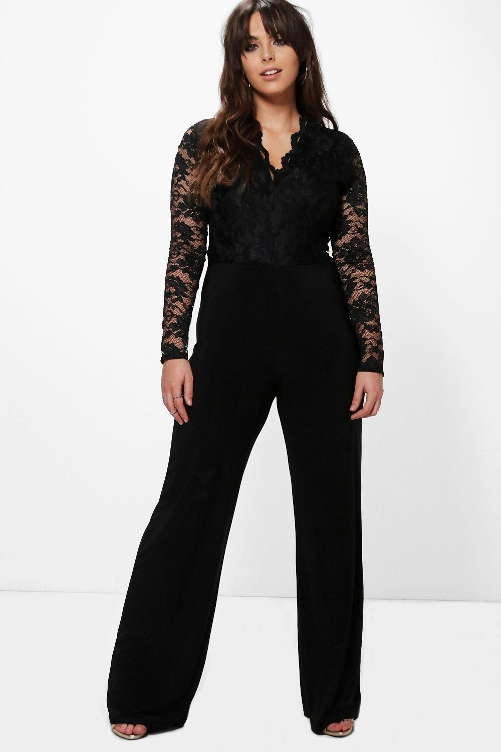 d3386e1d4be Click here to find out about the Plus Iris Long Sleeve Lace Top Slinky  Jumpsuit from Boohoo