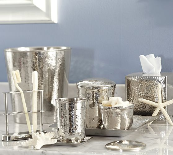 Marvelous Hammered Nickel Bath Accessories | Pottery Barn