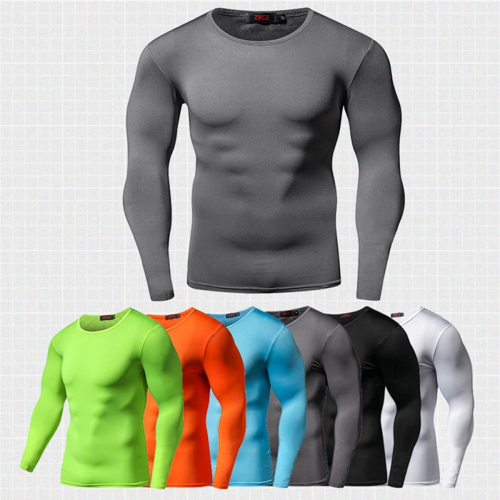 Men/'s Summer Workout T Shirt Gym Compression Vests Quick Dry Long Sleeve T-Shirt