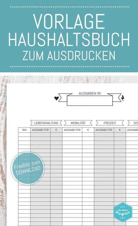 Haushaltsbuch Vorlage zum Download und Ausdrucken auf www.die-kleine ...